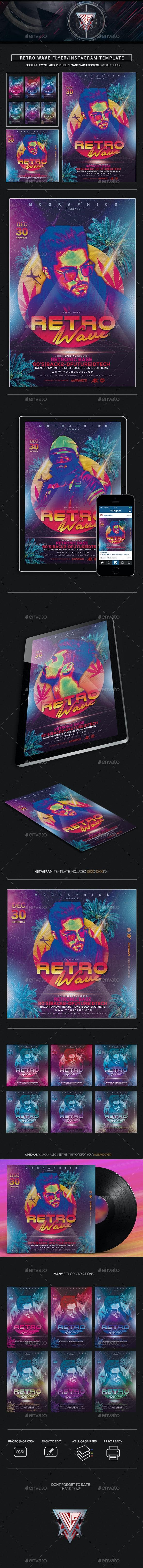 Retro Wave Flyer/Instagram Template - Flyers Print Templates