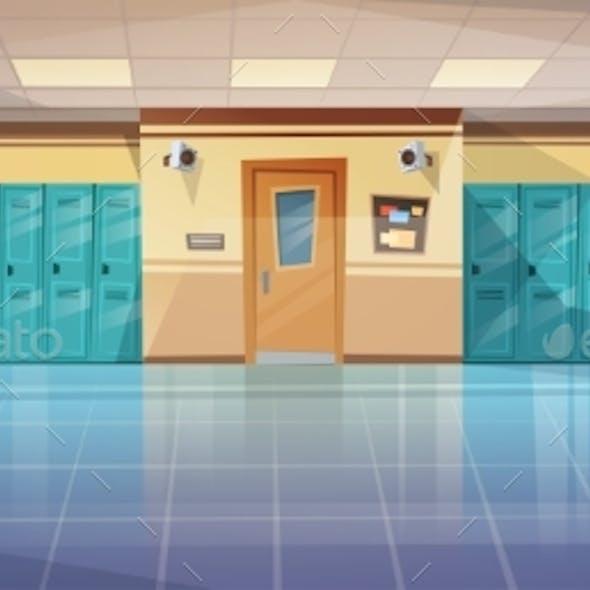 Empty School Corridor Interior with Row of Lockers
