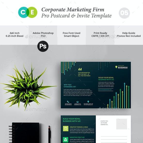 Corporate Marketing Firm Pro Postcard Invite  V05