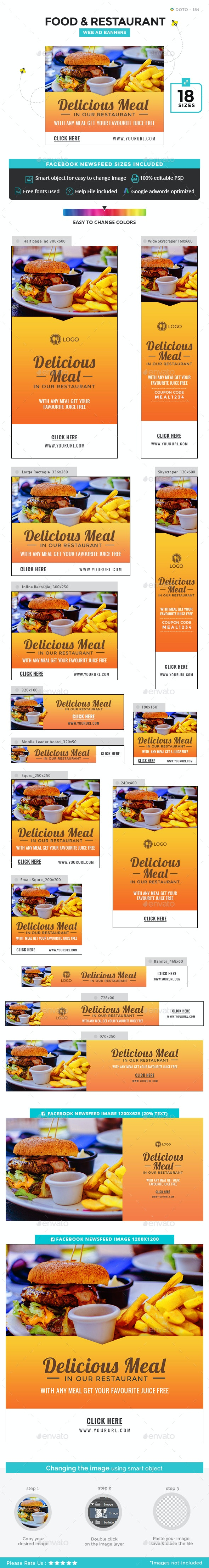 Food and Restaurant Banners - Banners & Ads Web Elements