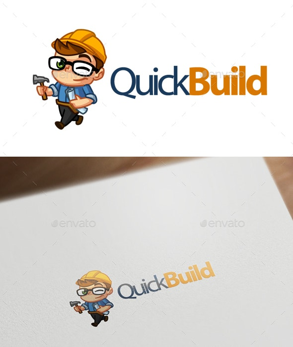 QuickBuild - Construction Worker Mascot Logo - Humans Logo Templates