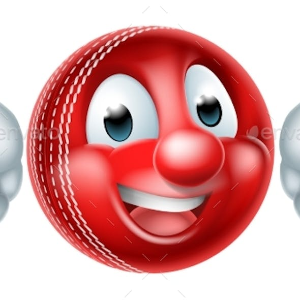 Cartoon Cricket Ball Mascot