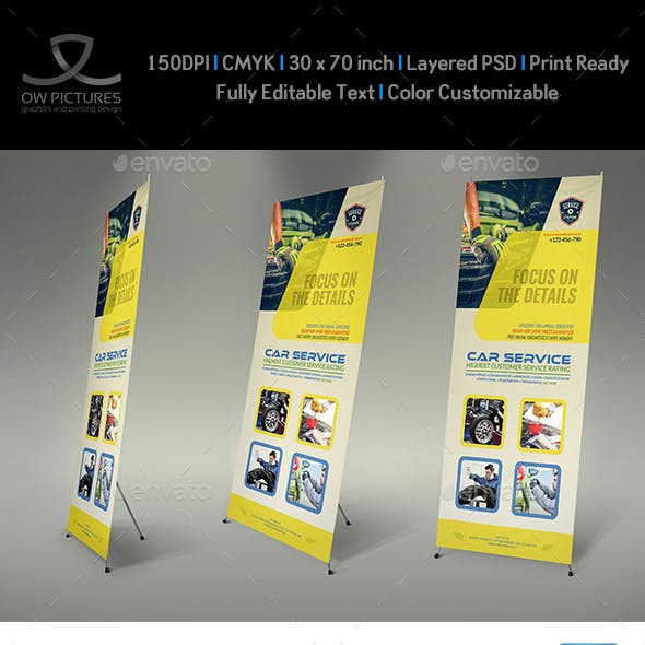 Car Service Signage banner Roll Up Template