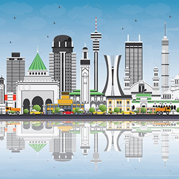 Africa Skyline with Famous Landmarks and Reflections