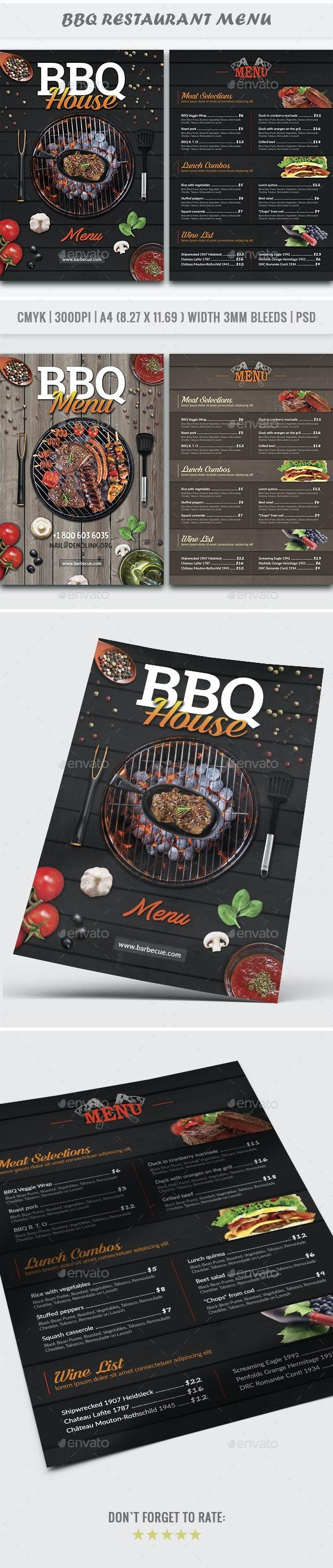BBQ House Menu Flyer - Restaurant Flyers