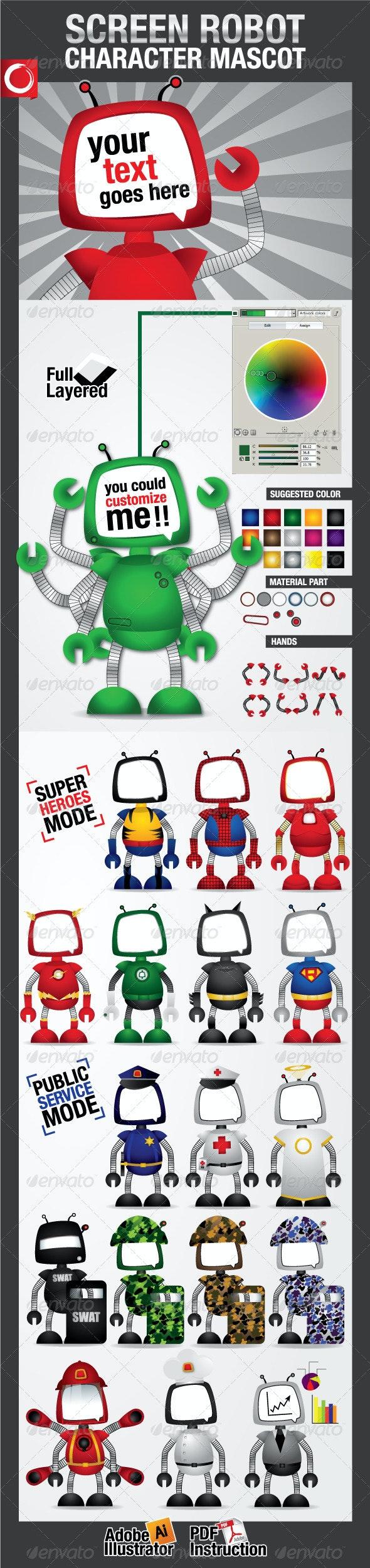 Screen Robot Character Mascot - Characters Vectors
