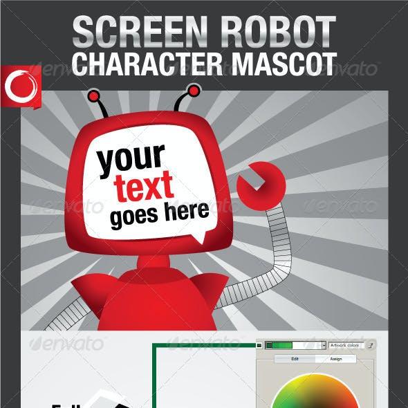 Screen Robot Character Mascot