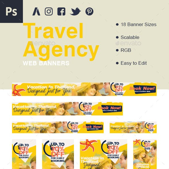 Travel Agency Booking Web Elements from GraphicRiver
