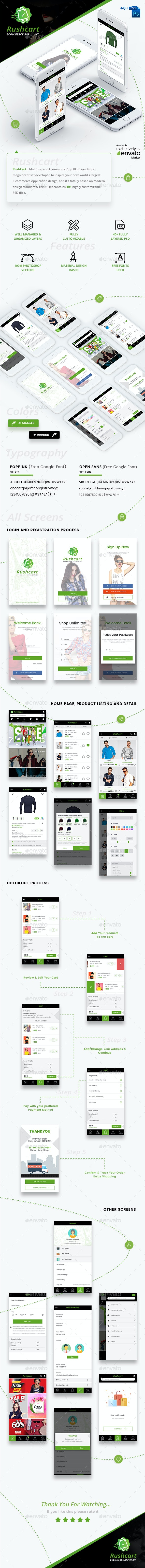 RushCart  - Multipurpose Ecommerce App UI Kit - User Interfaces Web Elements