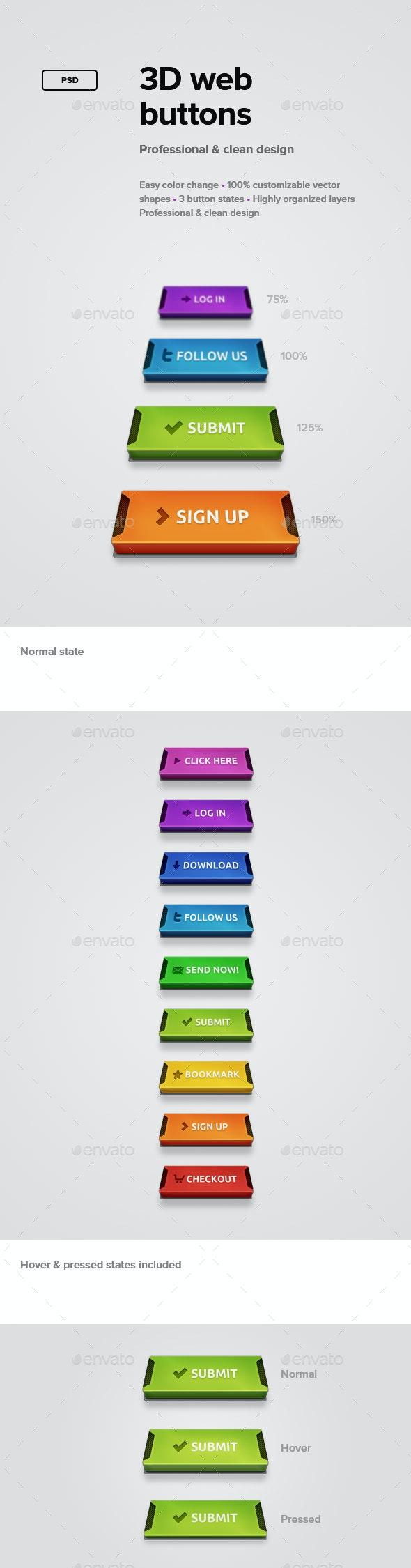 3D Web Buttons - Buttons Web Elements