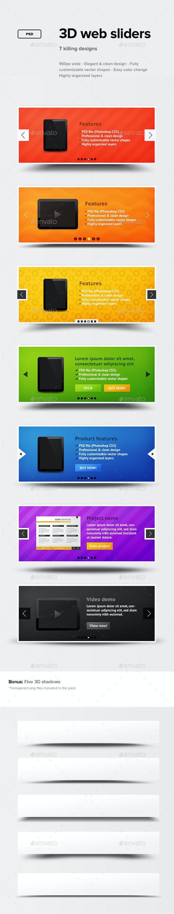 3D Web Sliders - Sliders & Features Web Elements