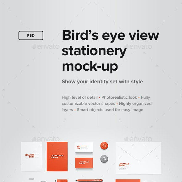 Bird's Eye View Stationery Mock-up