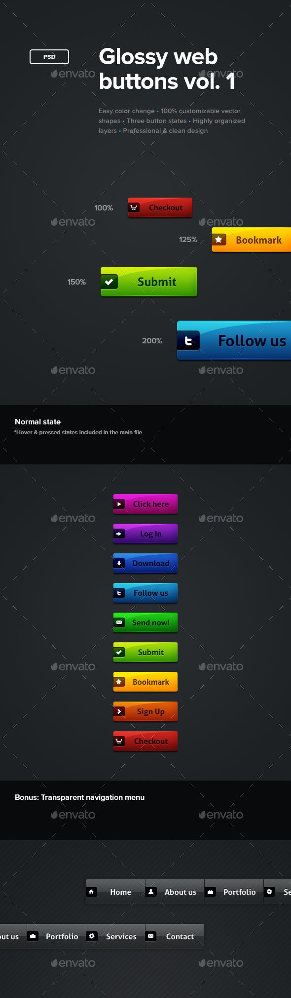 Glossy Web Buttons - Buttons Web Elements