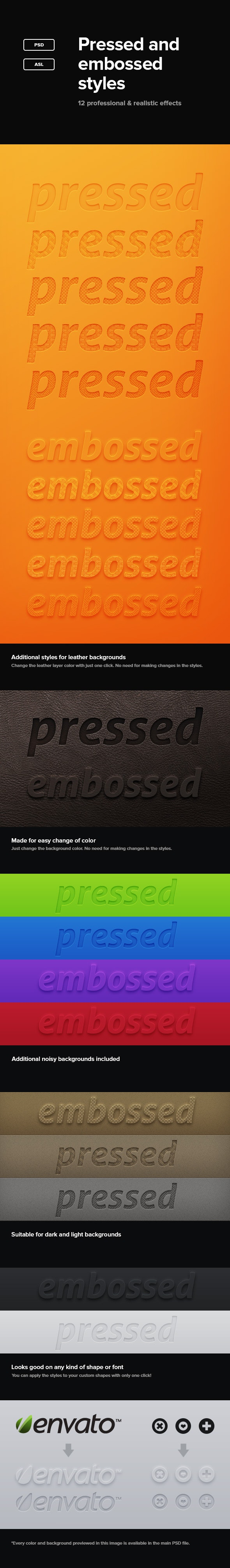 Pressed And Embossed Styles - Text Effects Styles