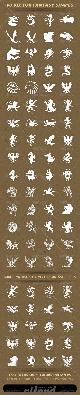 60 Fantasy Shapes - Characters Vectors