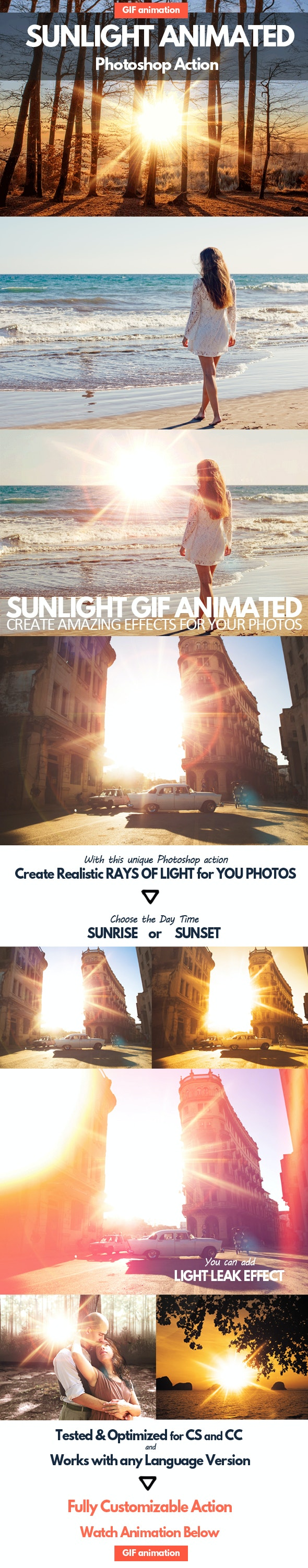 Sunlight Animated GIF Photoshop Action - Photo Effects Actions