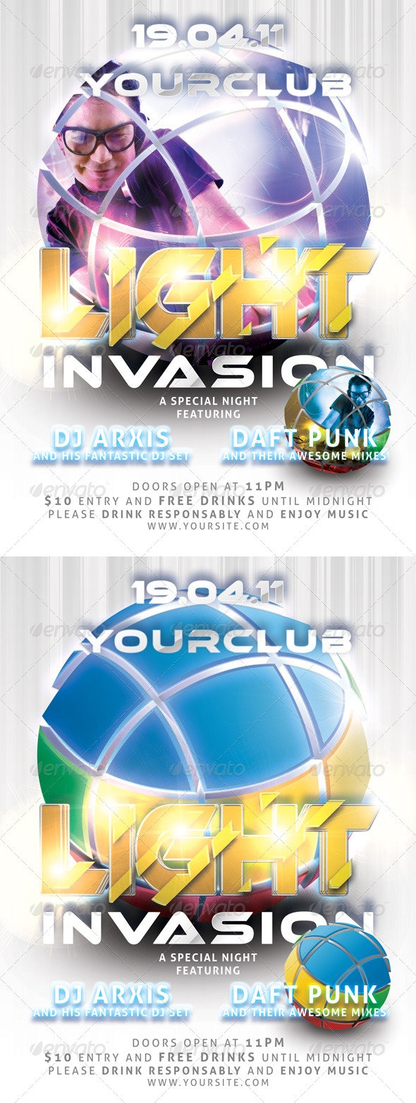 Light Invasion Flyer Template - Clubs & Parties Events