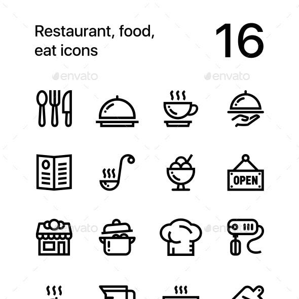 Restaurant, Food, Cooking Icons for Web and Mobile Design Pack 1