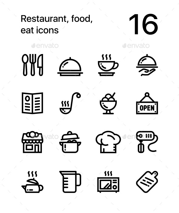 Restaurant, Food, Cooking Icons for Web and Mobile Design Pack 1 - Food Objects