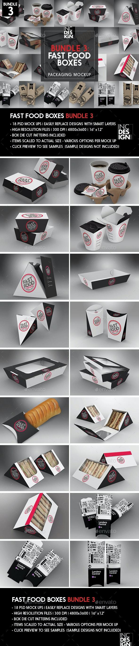 Fast Food Boxes Mock Up Bundle 3 - Food and Drink Packaging