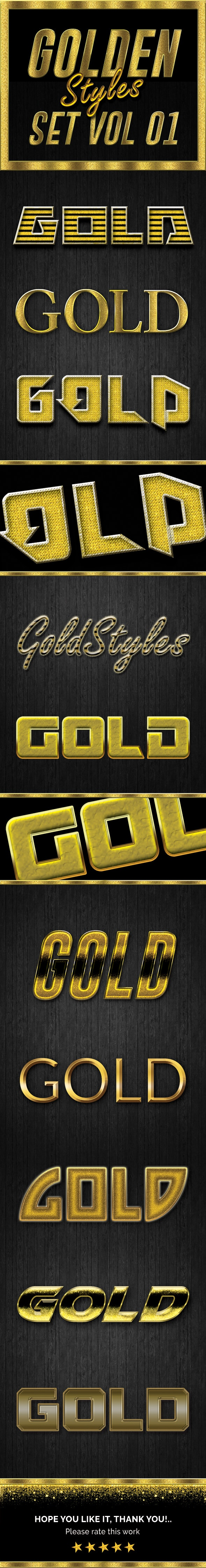 Gold Photoshop Styles Vol 01 - Text Effects Styles