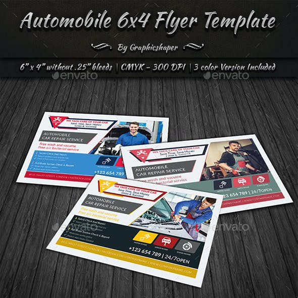 Automobile 6x4 Flyer Template