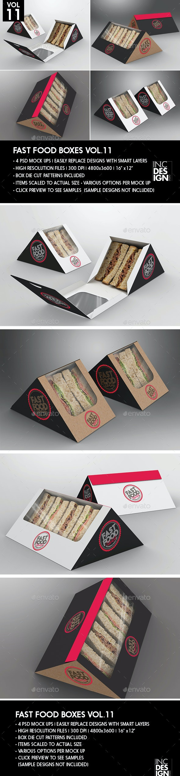 Fast Food Boxes Vol.11:Take Out Packaging Mock Ups - Food and Drink Packaging