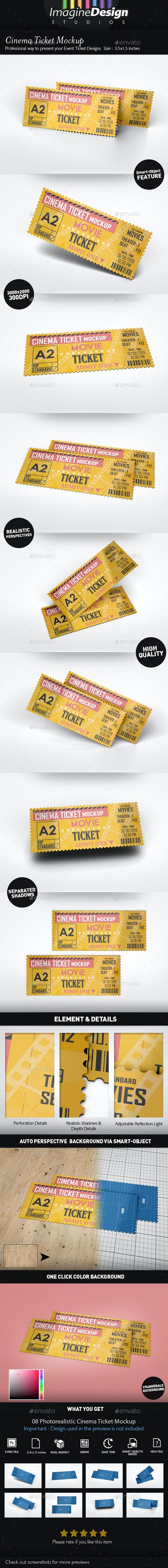 Cinema Ticket Mockup - Miscellaneous Print
