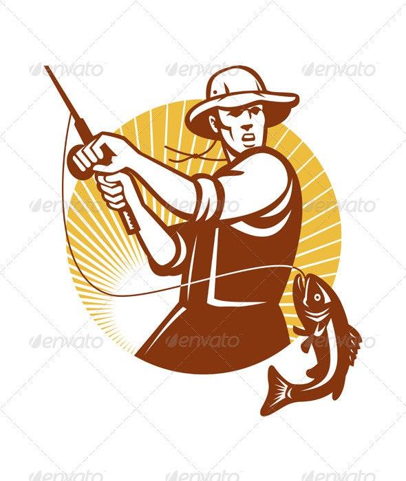 Fisherman Fishing Catching Largemouth Bass - People Characters