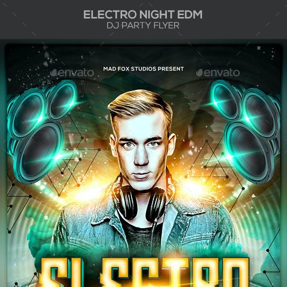 Electro Night EDM Dj Party Flyer