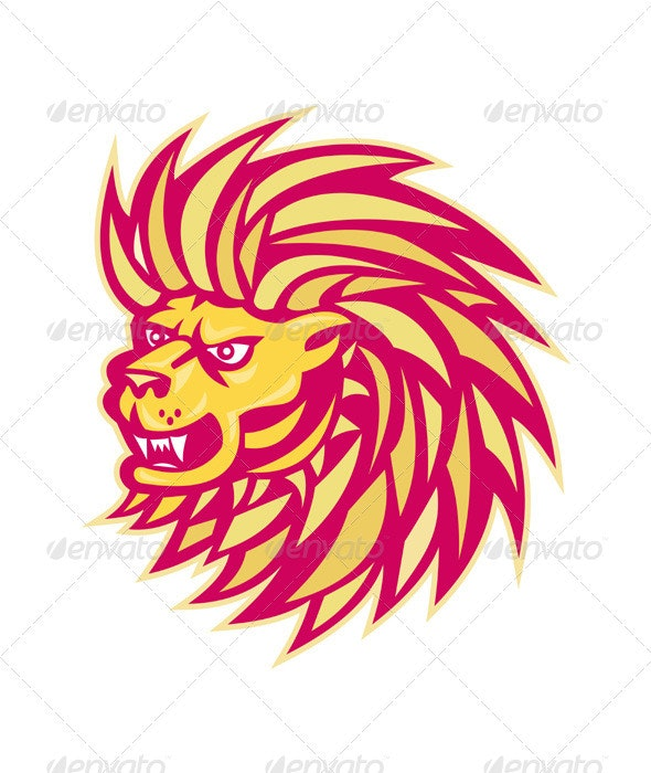Angry Lion Retro - Animals Characters