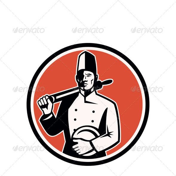 Baker Chef Cook With Roller Woodcut Retro