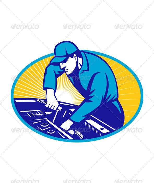 Automotive Mechanic Repairman Repair Car - People Characters