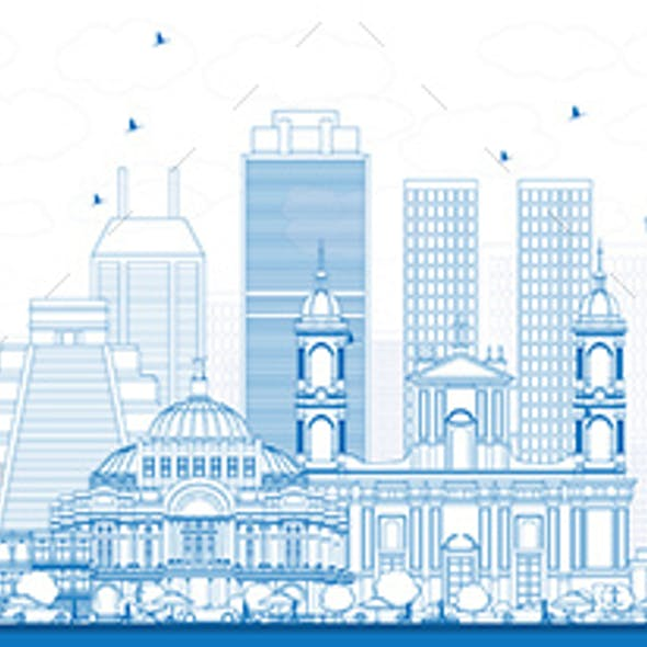 Outline South America Skyline with Famous Landmarks