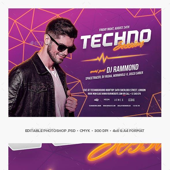 Techno Session DJ Flyer