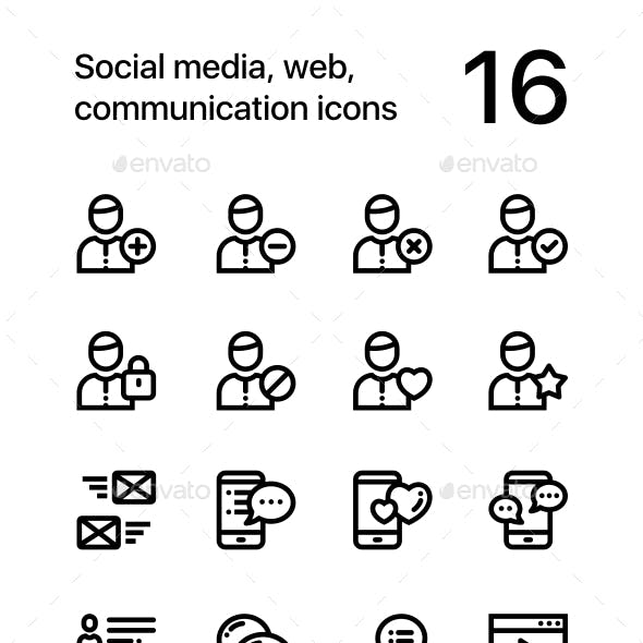 Social Media, Web, Communication Icons for Web and Mobile Design Pack 1