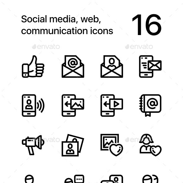 Social Media, Web, Communication Icons for Web and Mobile Design Pack 2