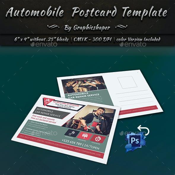 Automobile Post Card Template