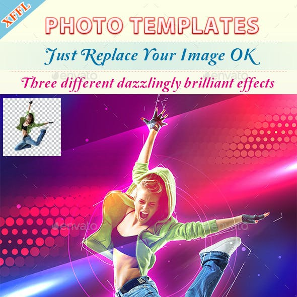 Dazzlingly Brilliant Effect Photo Template