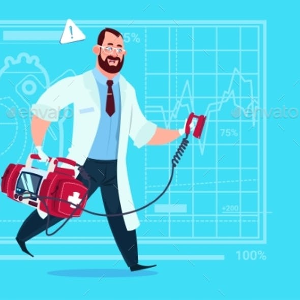 Doctor Running with Defibrillator Medical Clinics