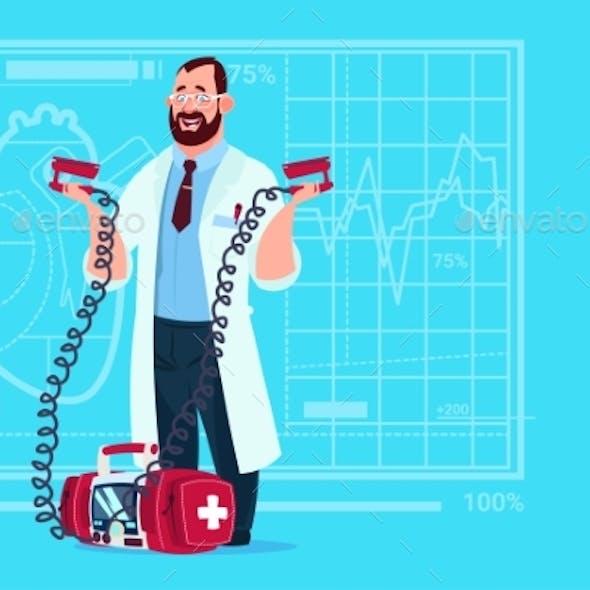 Doctor Hold Defibrillator Medical Clinics Worker