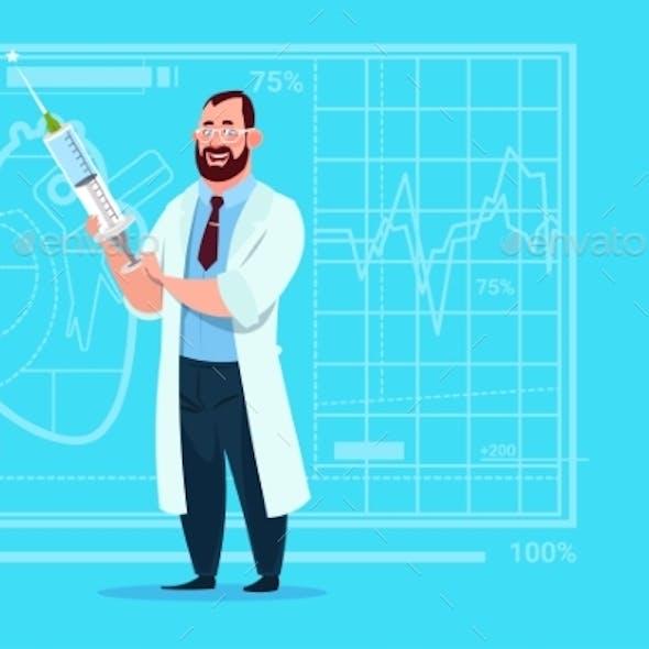 Doctor Holding Syringe Medical Clinics Worker