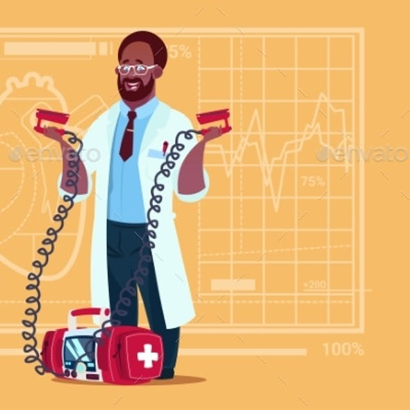 Doctor Holds Defibrillator