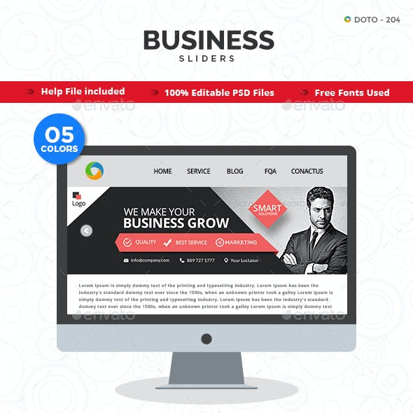 Business Sliders - 5 Color Variations