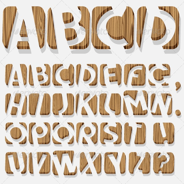 3d Wooden Alphabet - Decorative Symbols Decorative