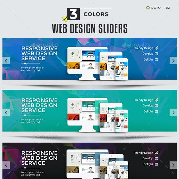 Web Design Sliders - 3 Color Variations