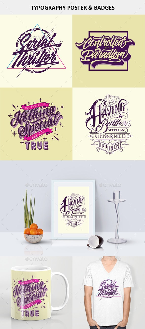 Typography Poster And Badges Vol 3 - Badges & Stickers Web Elements