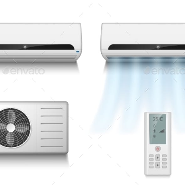 Realistic Set of Air Conditioner with Remote