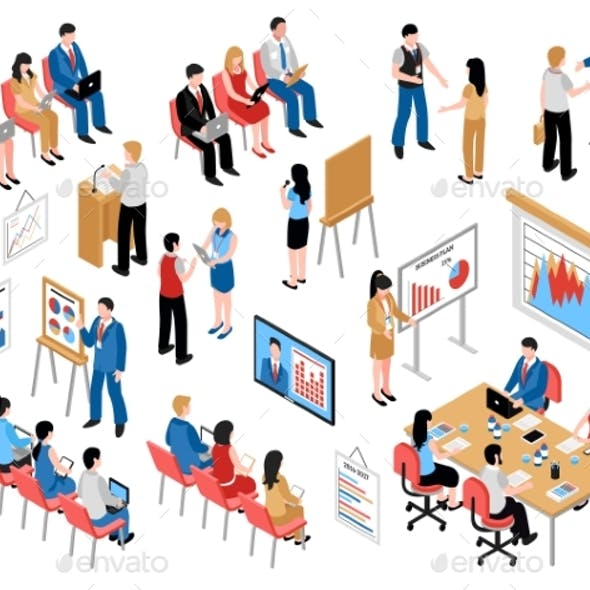 Business Education and Coaching Isometric Icons