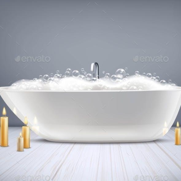 Bathtub With Foam 3D Illustration
